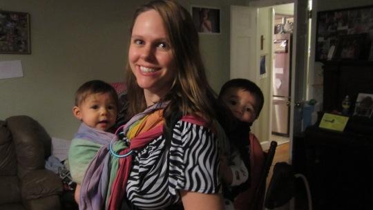 mommy babywearing twins