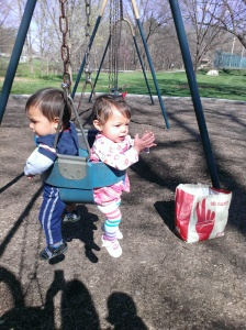 Twins swing Bella Brooks Gerbil Giraffe