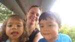 city lake park selfie with twins ontrain